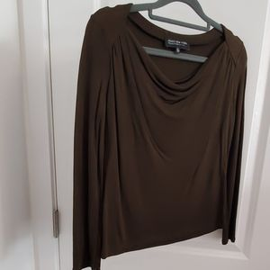 Long sleeve blouse - greenish brown